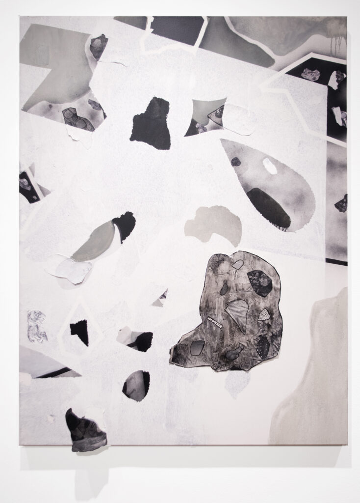collage artwork showing grey painted areas and printed magazine imagery