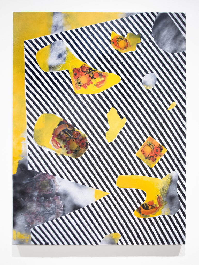 collage artwork with black and white striped pattern and yellow background with printed magazine imagery