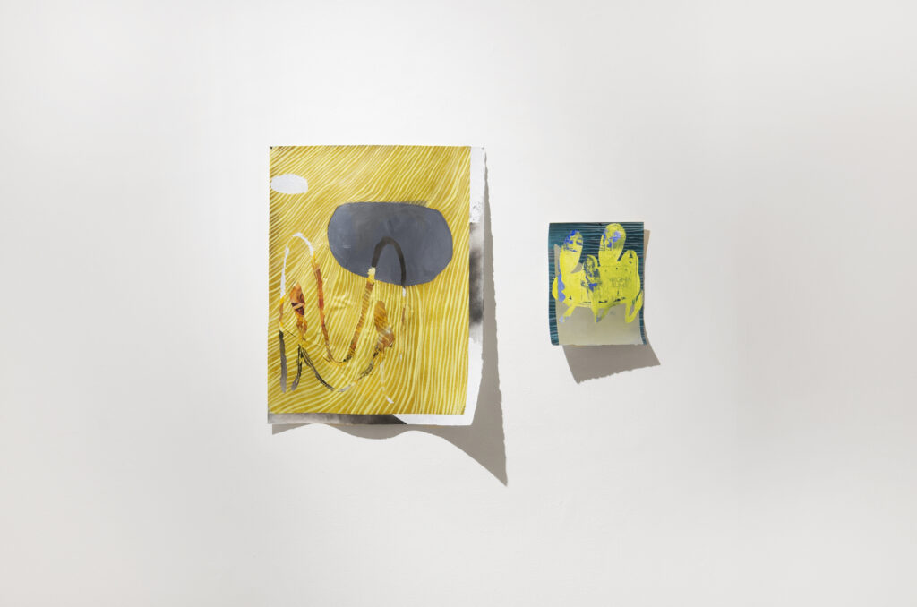 pair of collage artworks with painted areas and printed magazine imagery