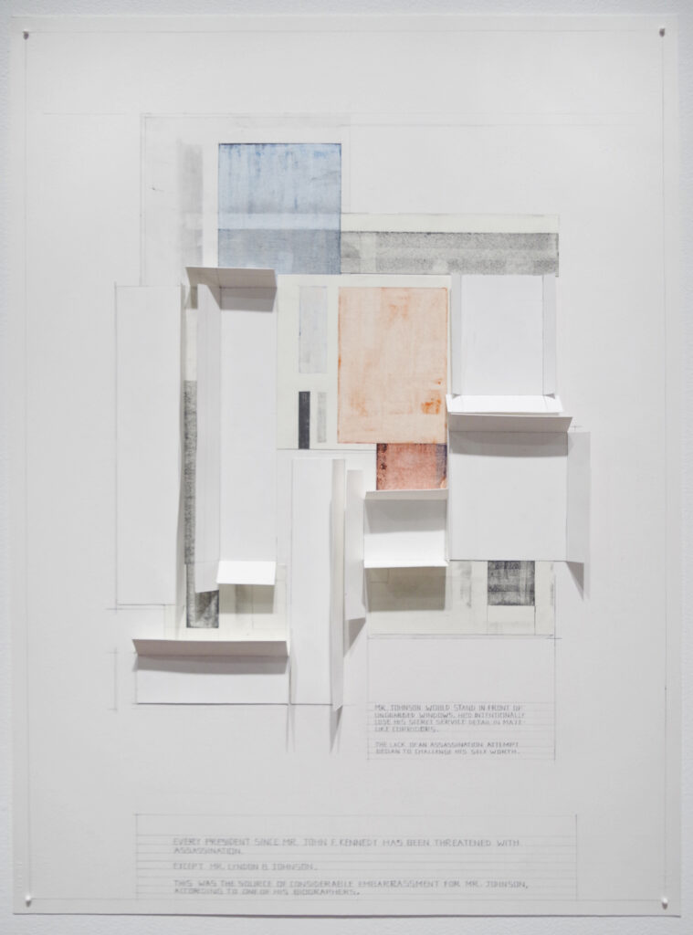 geometric and architectural artwork collage and graphite works on paper