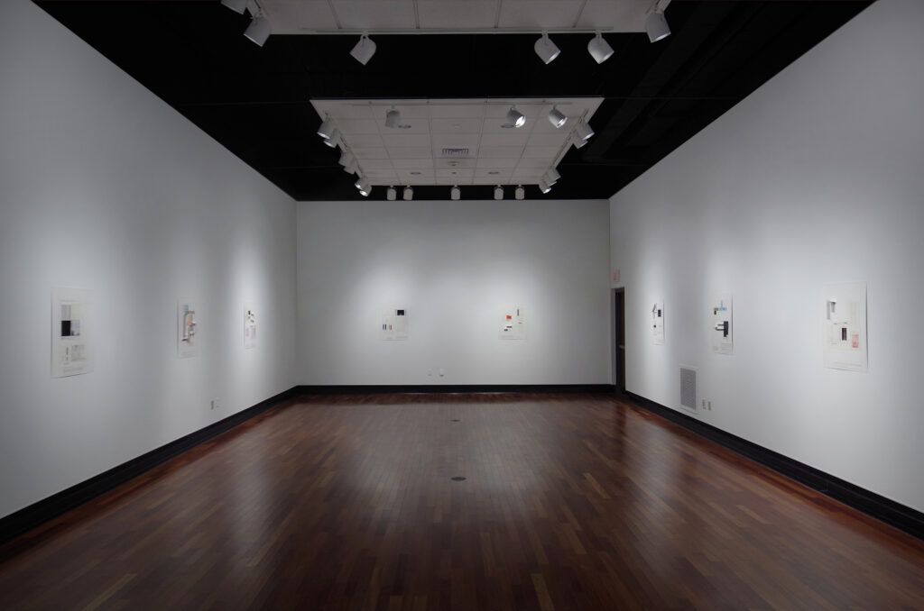 art exhibition of small collage and graphite works on paper