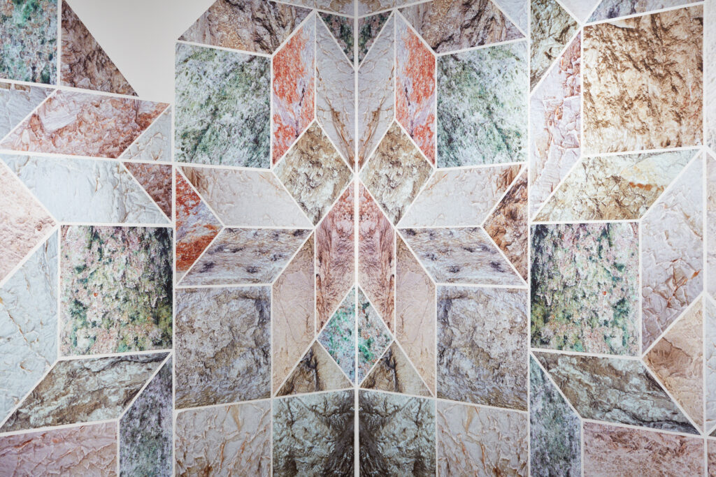 art mural consisting of geometric arabesques image of mountain ranges and framed color photographs