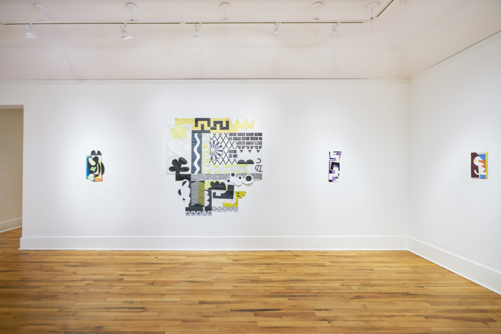 gallery exhibition featuring multi-media paintings and textile art pieces
